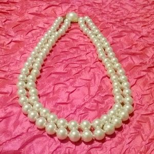 Vintage Multi Strand White Glass Pearl Necklace